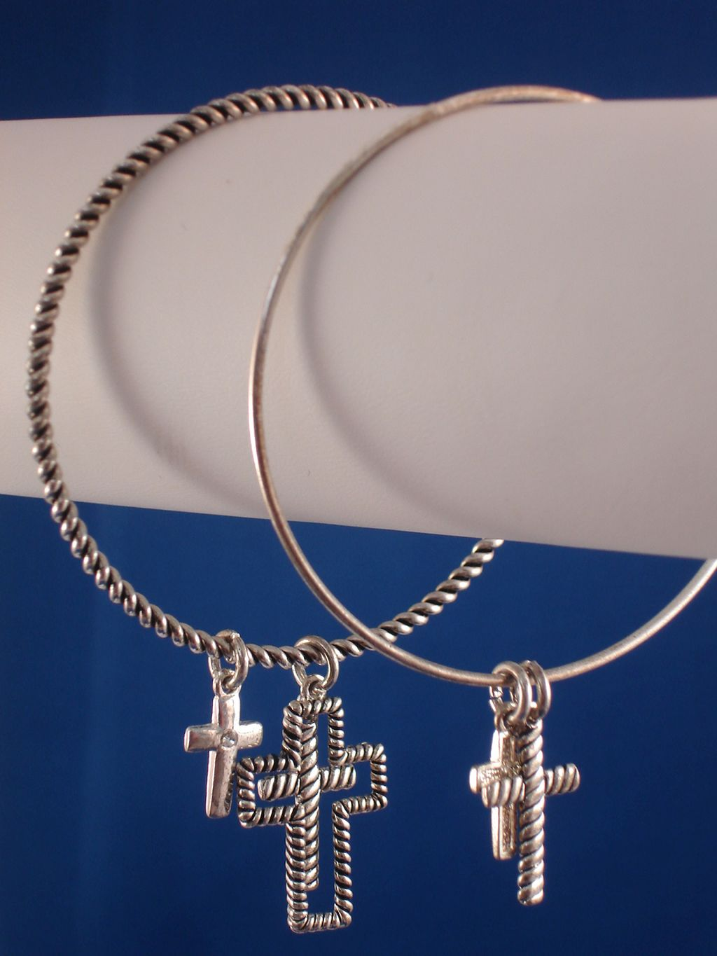 Christian Faith Inspired, Set of Two Bangle Bracelets, Cross Charms, Sterling Silver Plated
