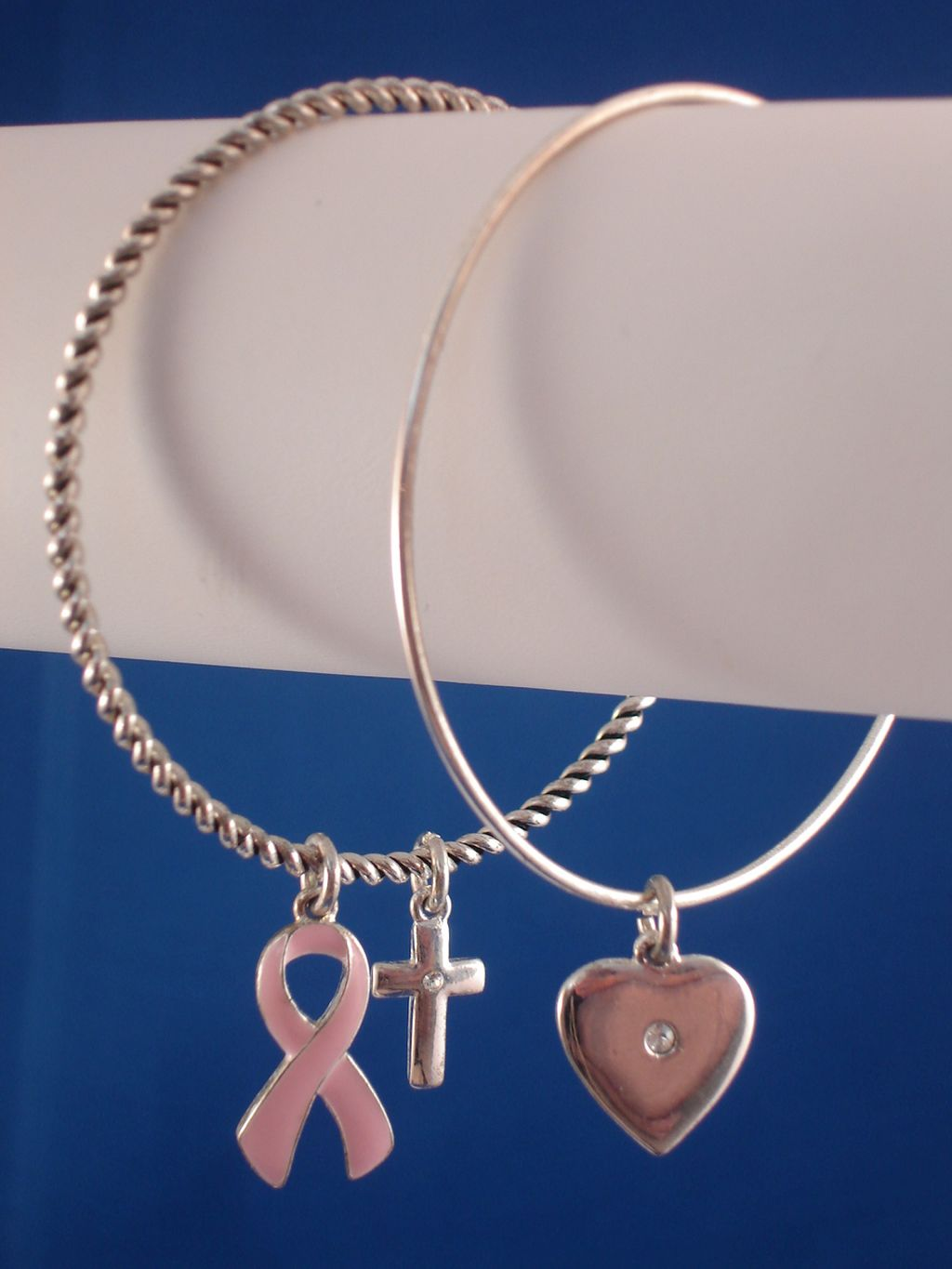 Christian Faith Inspired, Set of Two Bangle Bracelets, Cross, Heart & Breast Cancer Awareness Charms, CZ Stones, Sterling Silver Plated