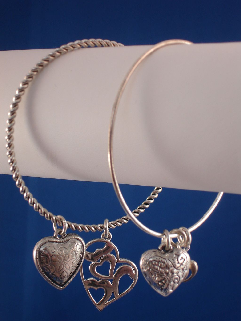 Christian Faith Inspired, Set of Two Bangle Bracelets, Heart Charms, Sterling Silver Plated