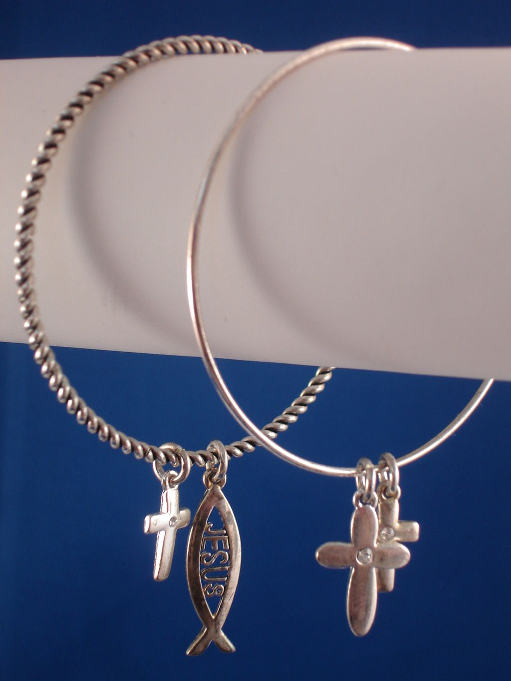 Christian Faith Inspired, Set of Two Bangle Bracelets, Jesus Fish & Cross Charms, CZ Stones, Sterling Silver Plated