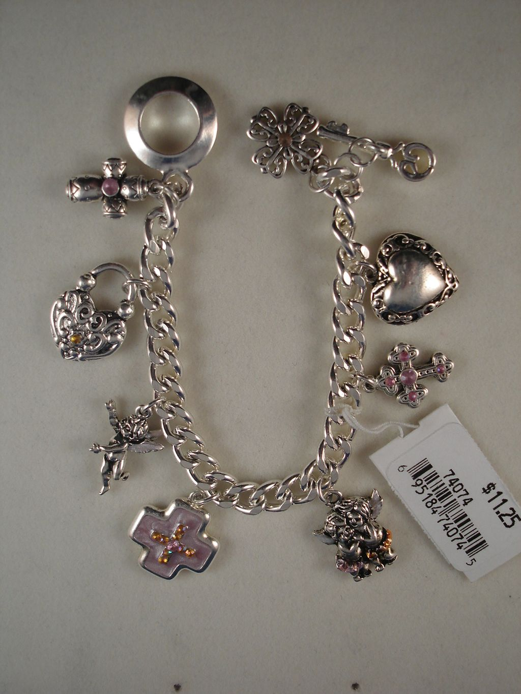 Christian Faith Inspired Pink Cross Charm Bracelet Silver Chain, Anti-Allergic Jewelry
