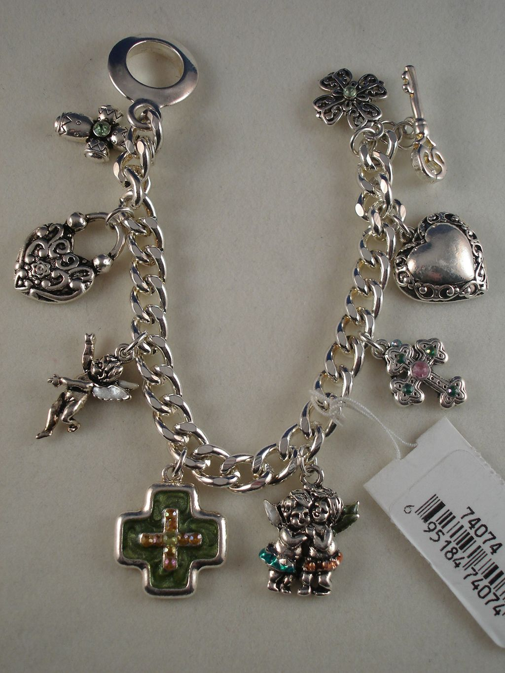 Christian Faith Inspired Green Cross Charm Bracelet Silver Chain, Anti-Allergic Jewelry