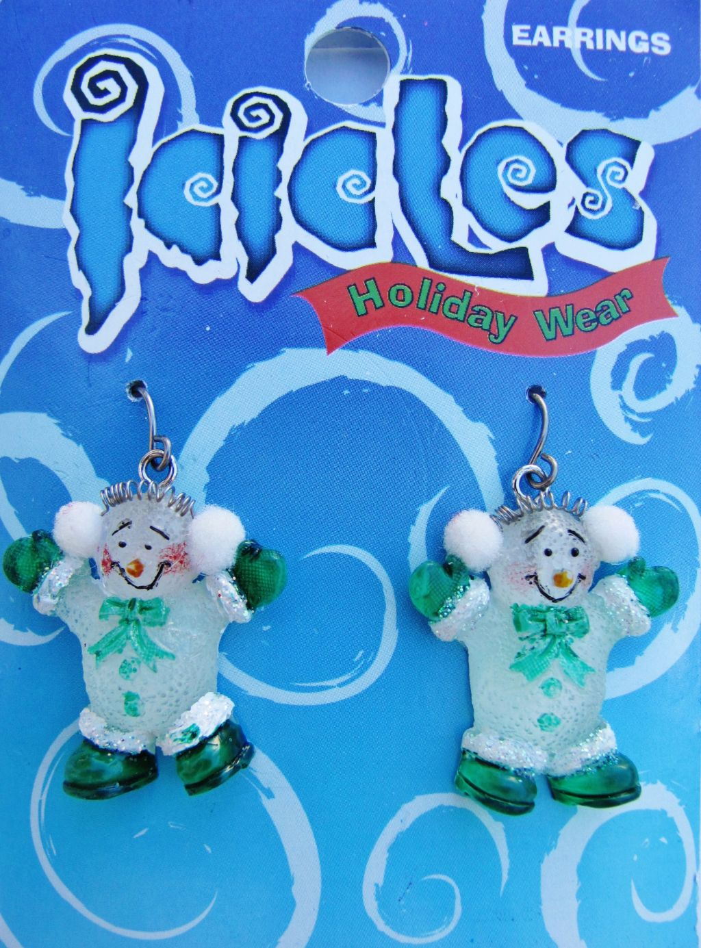 Christmas Green Snowman Holiday Hook Earrings