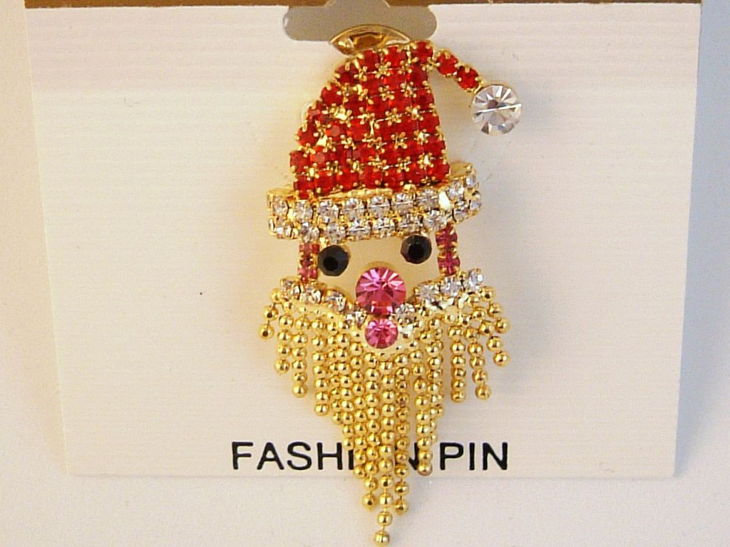 Christmas Santa Claus Head Pin, Gold Tone Metal, Austrian Crystal