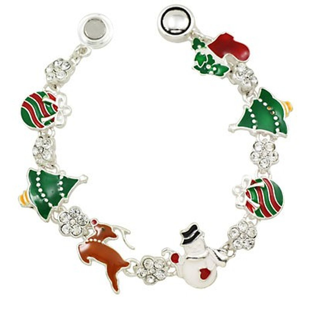 Christmas Theme Rhinestones Magnetic Bracelet, Silver Plated
