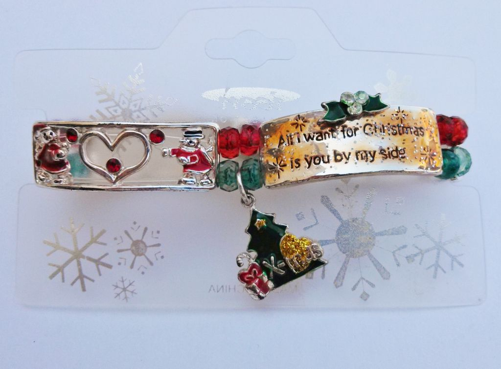 Christmas Wish Message Tree & Gifts Charm Bracelet Stretching