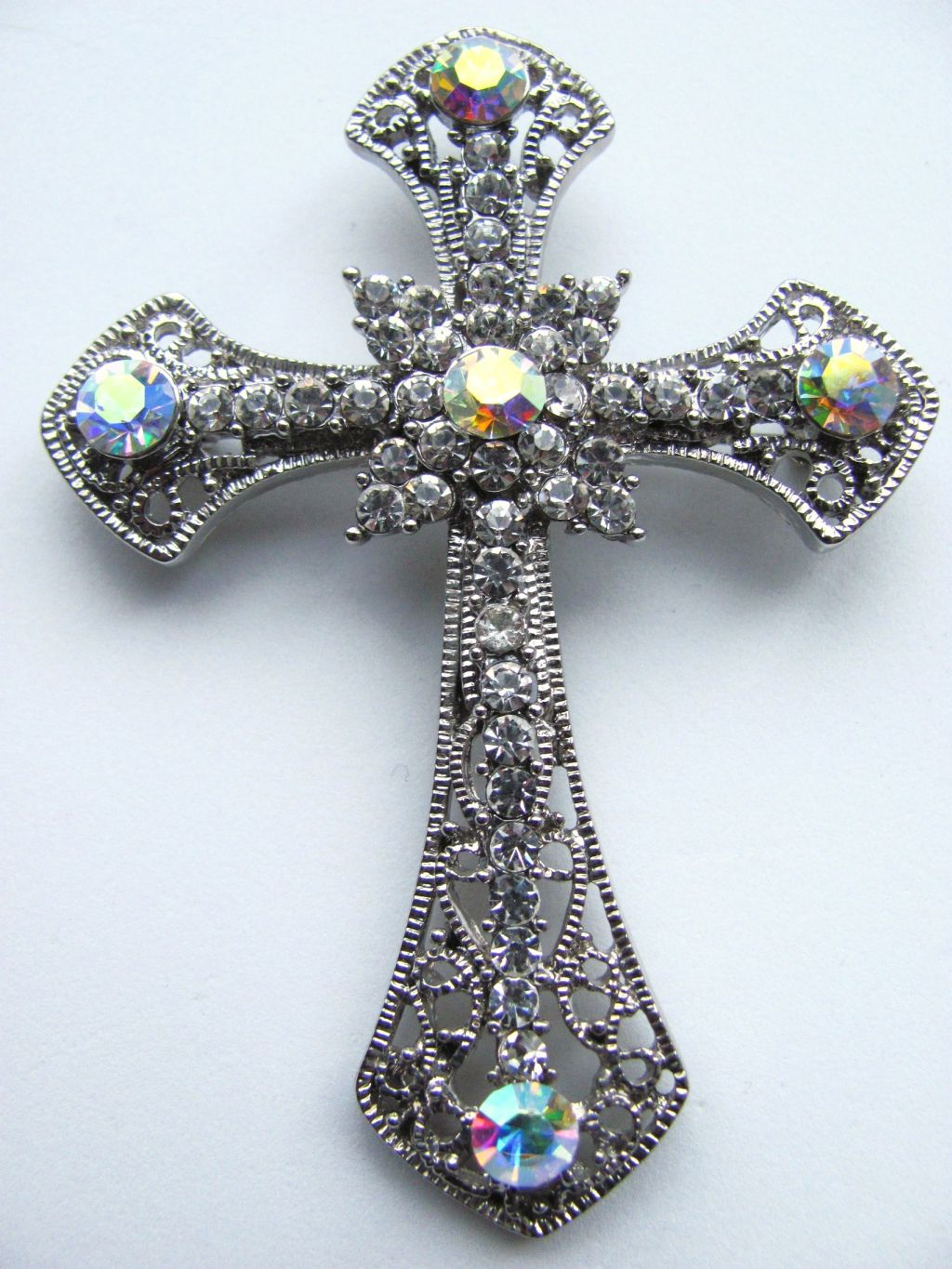 2 34 clear diamond large cross pendant pin brooch genuine cz stones mailing list aloadofball Gallery