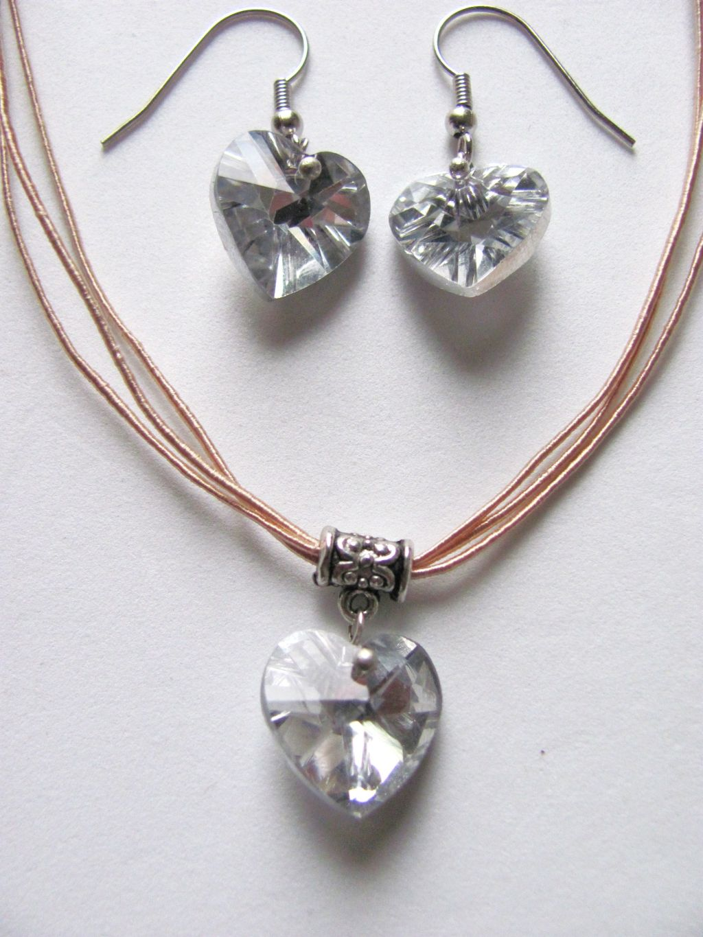 Clear Genuine Crystal Heart Charm Beige Necklace Earrings Set