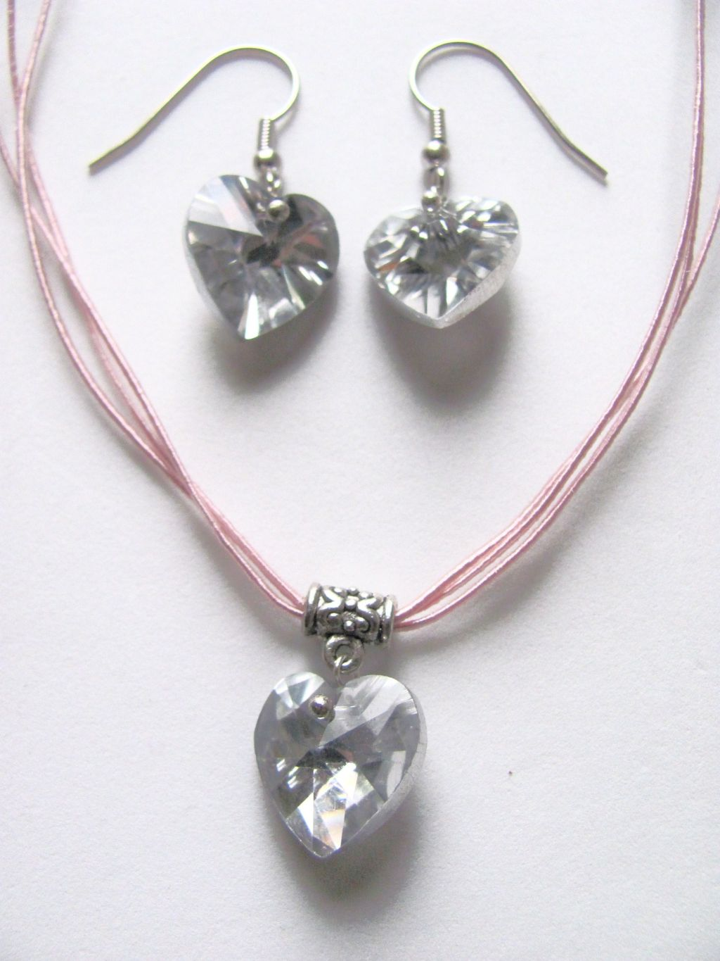 Clear Genuine Crystal Heart Charm Pink Necklace Earrings Set