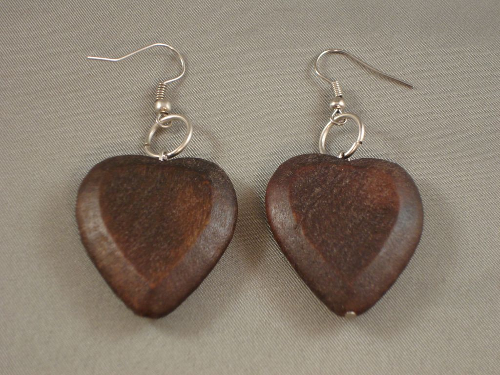 Contemporary Brown Wood Large Heart Earrings
