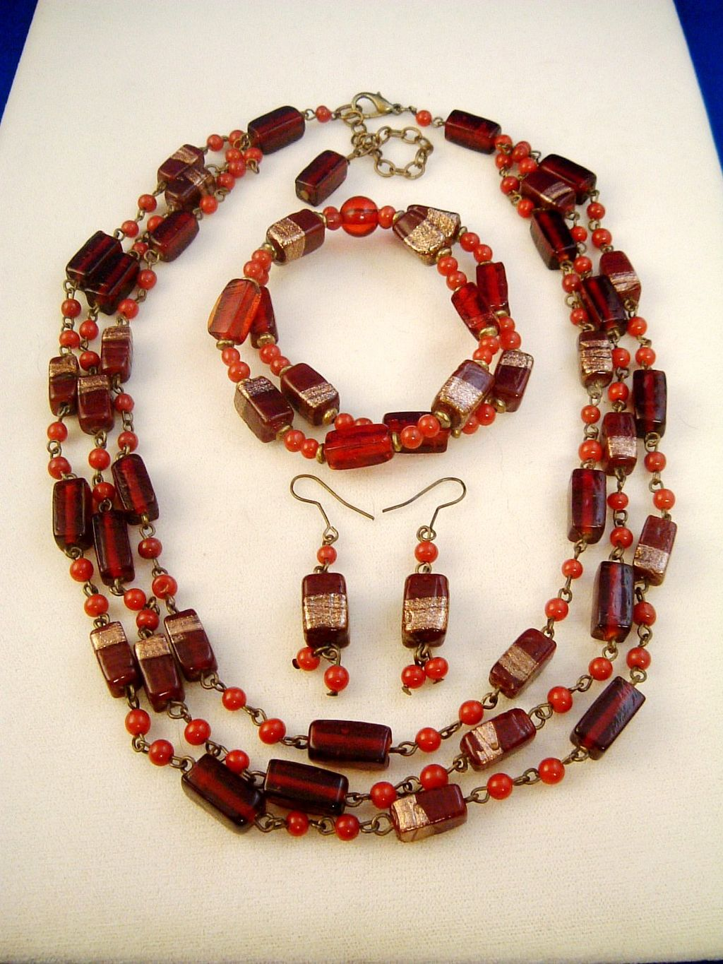 Copper Plated Maroon Stained Glass Beads, Set of Three Layers Necklace, Bracelet & Earrings, Anti-allergic Jewelry