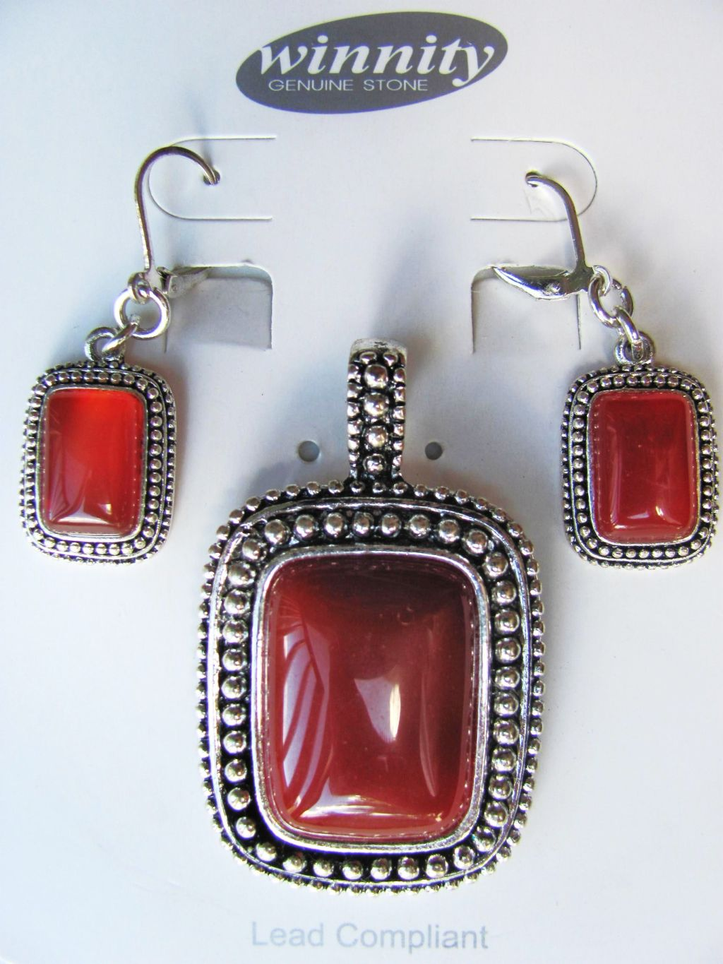 Cornelian Vintage Rectangle Pendant Earrings Set, Genuine Stone