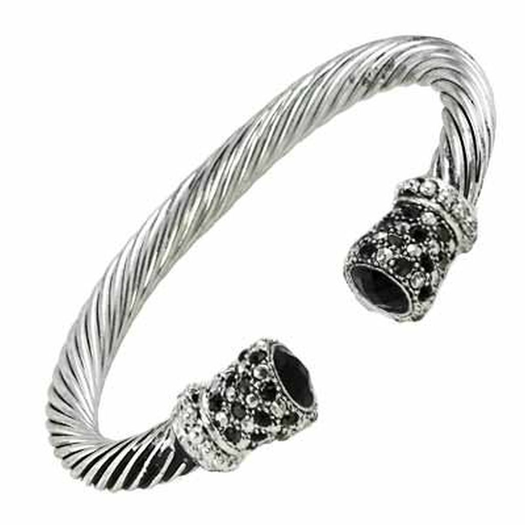 Designer`s Touch Black Diamond Cuff Bracelet Twisted Wire Cable ...