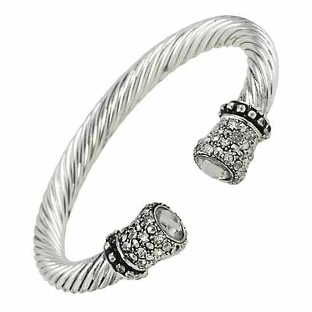 Designer`s Touch Clear Diamond Cuff Bracelet Twisted Wire Cable ...