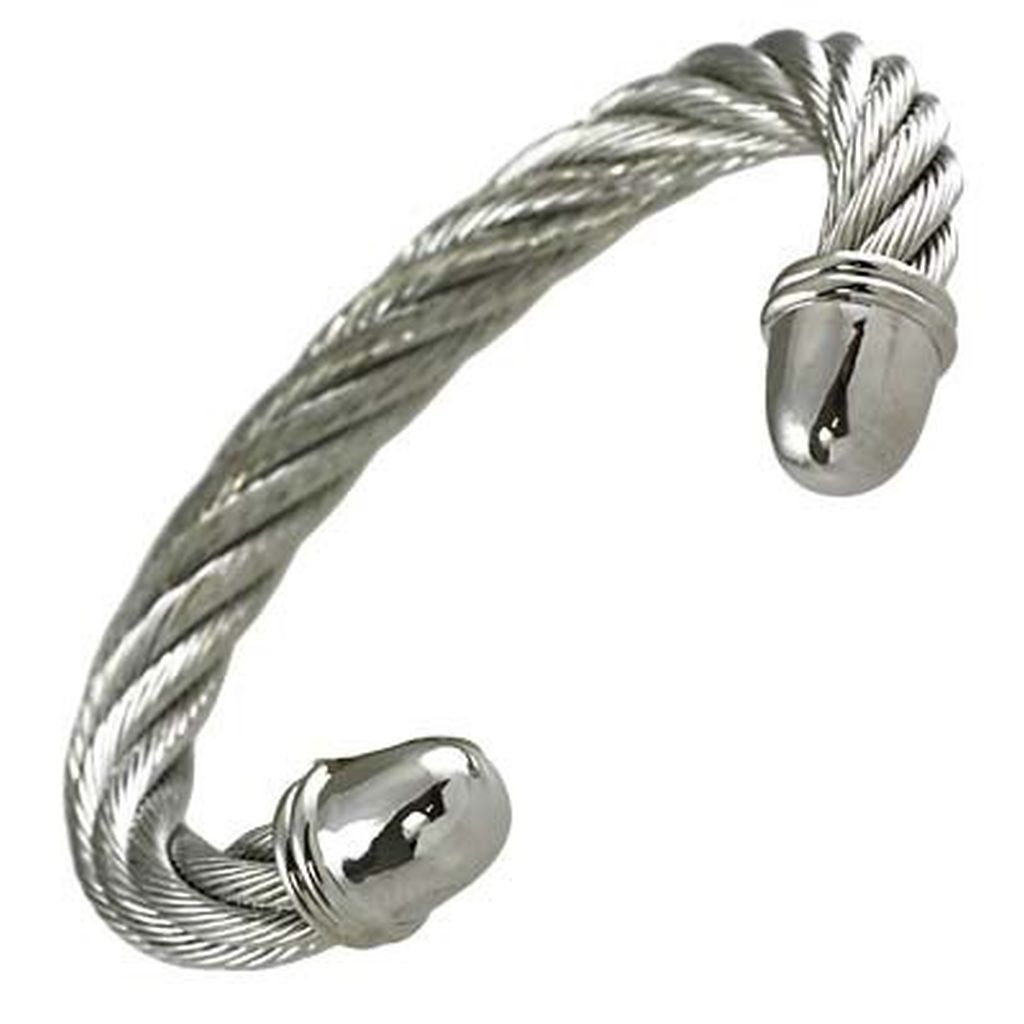 Designer`s Touch Cuff Bracelet Twisted Wire Cable Silver-Tone