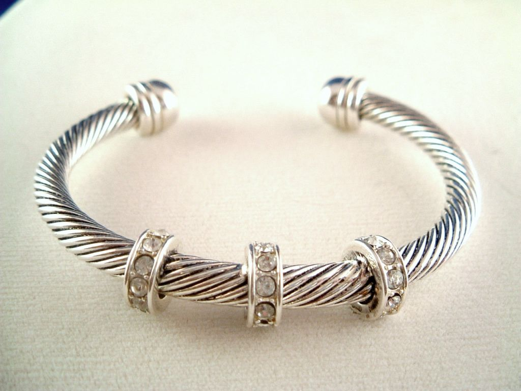 Designer`s Touch Twisted Rope Cable Cuff Bangle Bracelet Crystals ...