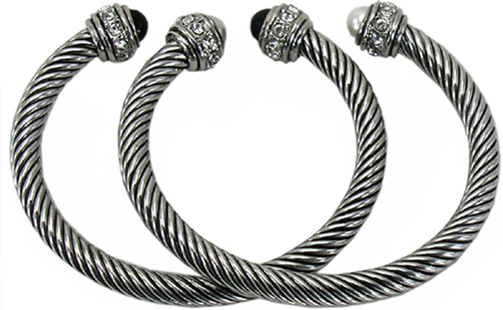 Designer S Touch Twisted Rope Cable Cuff Bracelet Pearl