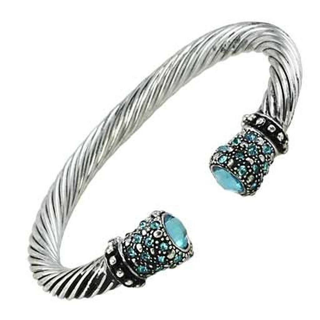 Designer`s Touch,Twisted Rope / Cable Turquoise Aqua Cuff Bangle Bracelet,Rhinestones Rhodium Plated