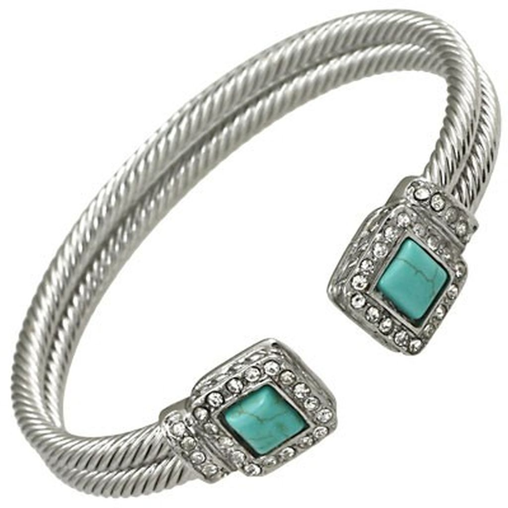 Designer`s Touch Turquoise Cuff Bracelet Rhinestones, Twisted Wire Double Cable