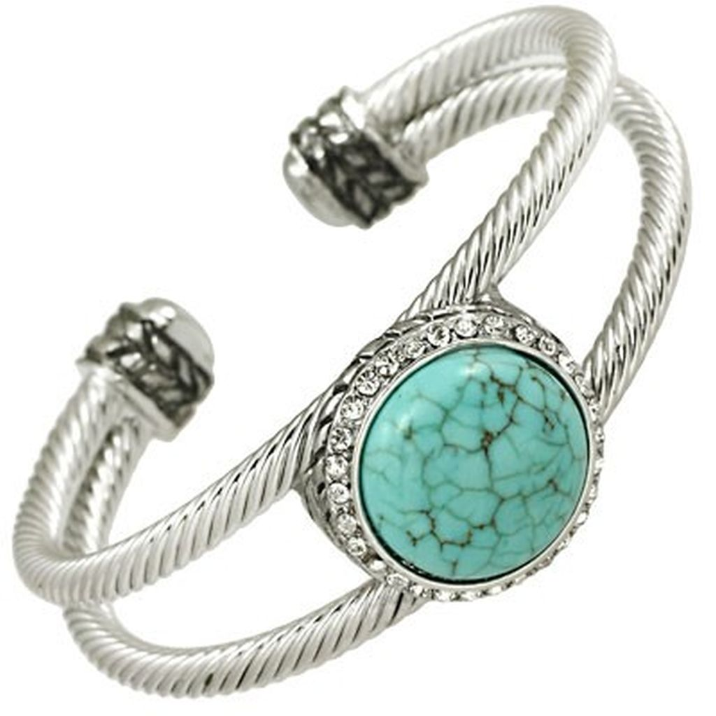 Designer`s Touch Twisted Wire / Cable Double Cuff Bracelet Bangle,Genuine Turquoise Aqua & Rhinestones,Rhodium Plated