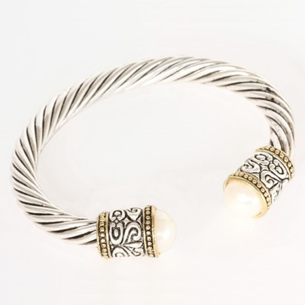 Designer`s Touch Pearl Cuffs Bracelet Two-Tone Twisted Wire Cable ...