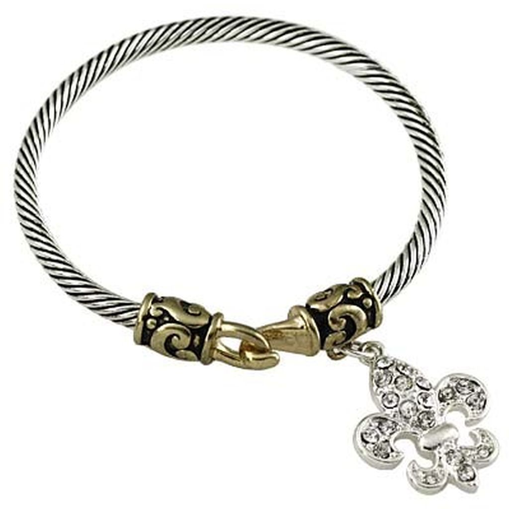 Designer`s Touch Fleur-De-Lis Charm Bracelet Vintage Two-tone ...