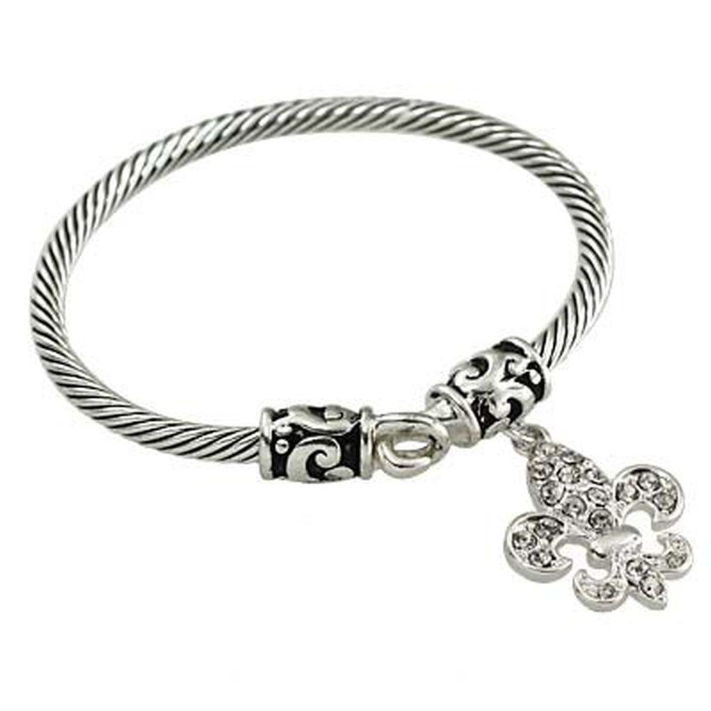 Designer`s Touch Fleur-De-Lis Charm Bracelet Vintage Silver, Twisted ...