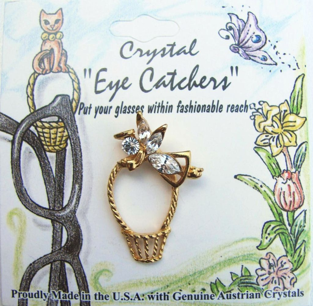 Eyeglasses Holder Pin Guardian Angel w/ Basket, Gold Tone Genuine Crystals