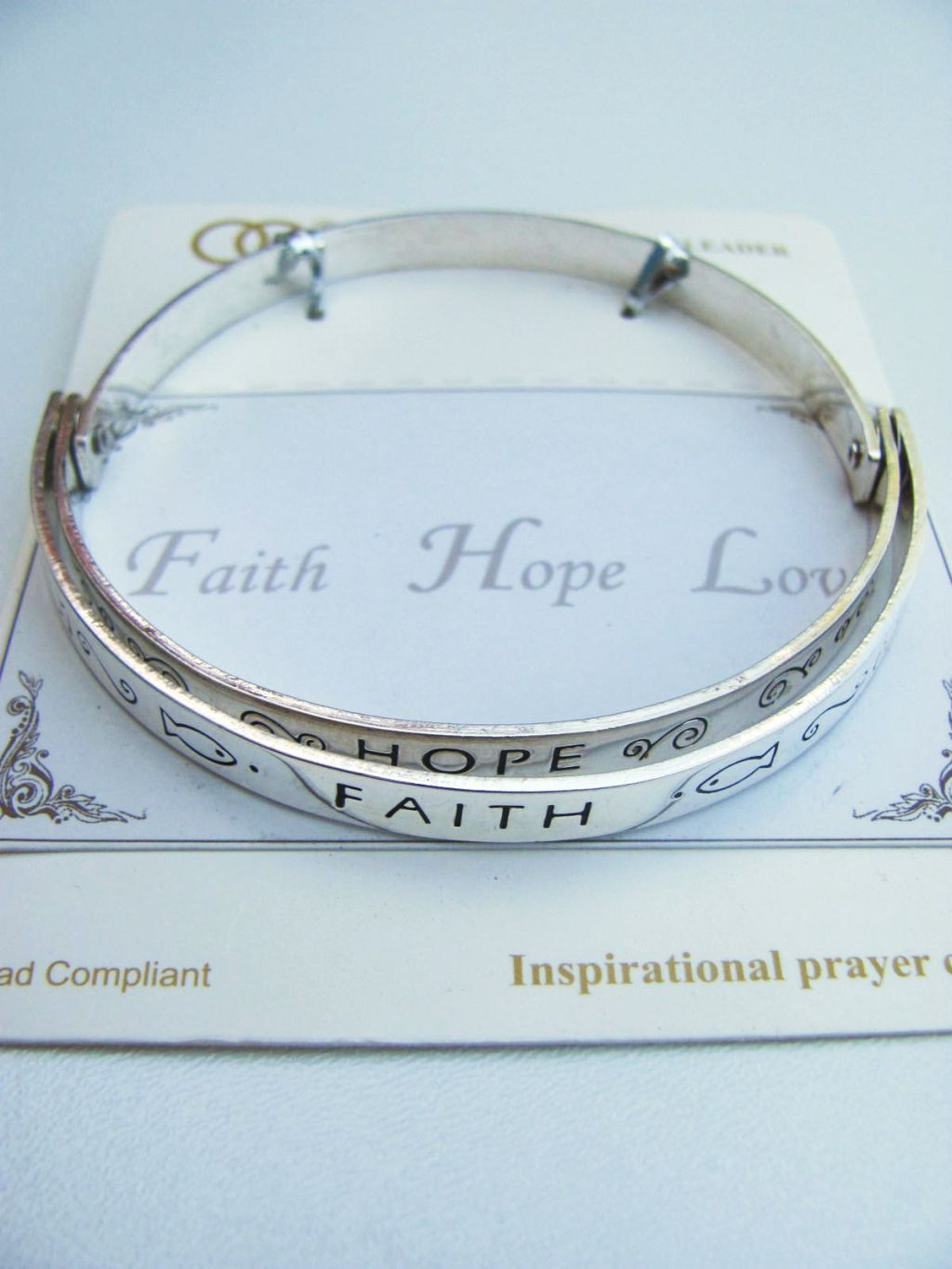 Faith Hope Love Inspirational Message Bangle Bracelet, Contemporary Style