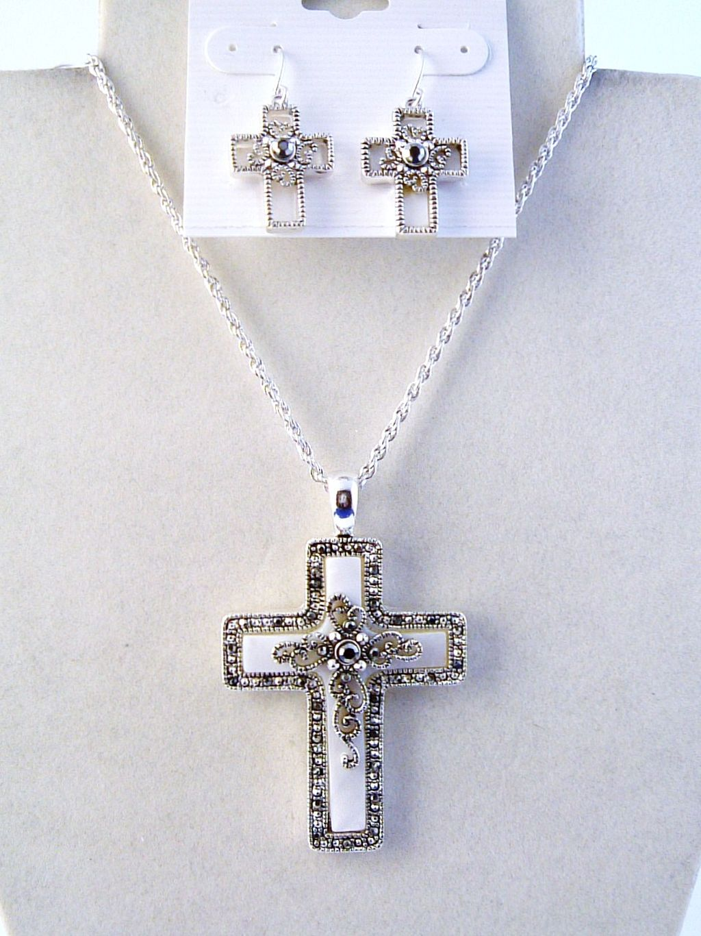 Filigree Cross Pendant Mother-of-Pearl Necklace Earrings Jewelry Set
