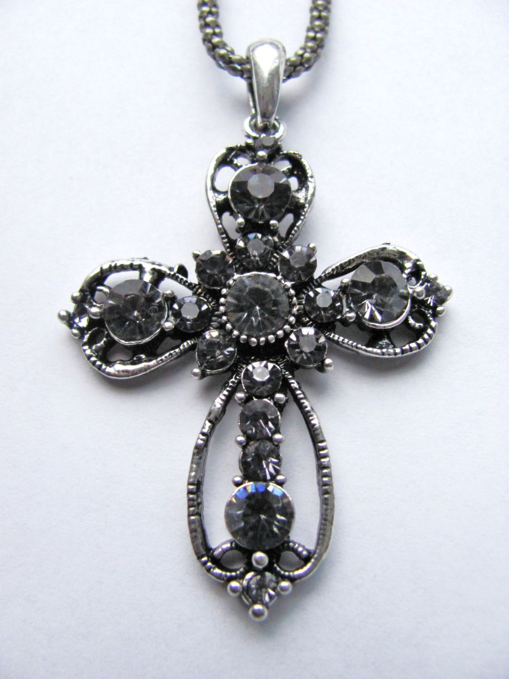 Filigree Style Cross Pendant Necklace Genuine Crystals Smoked Tone