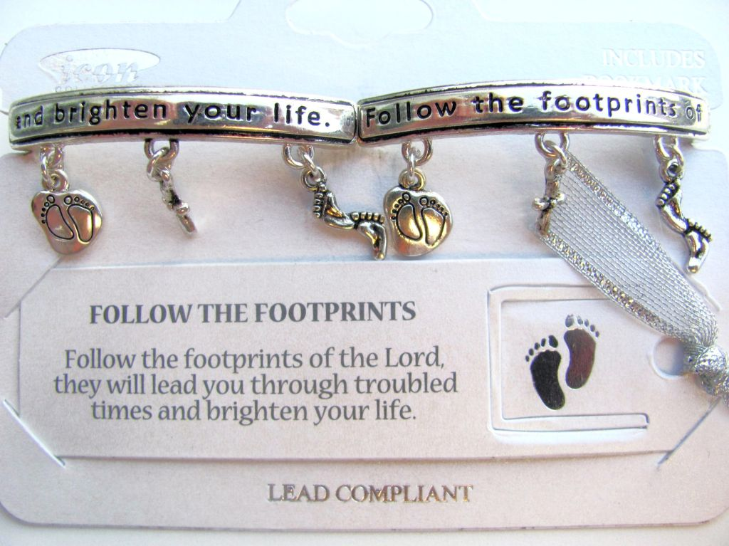 Follow the Footprints Charm Bracelet, Inspirational Message Silver Bangle