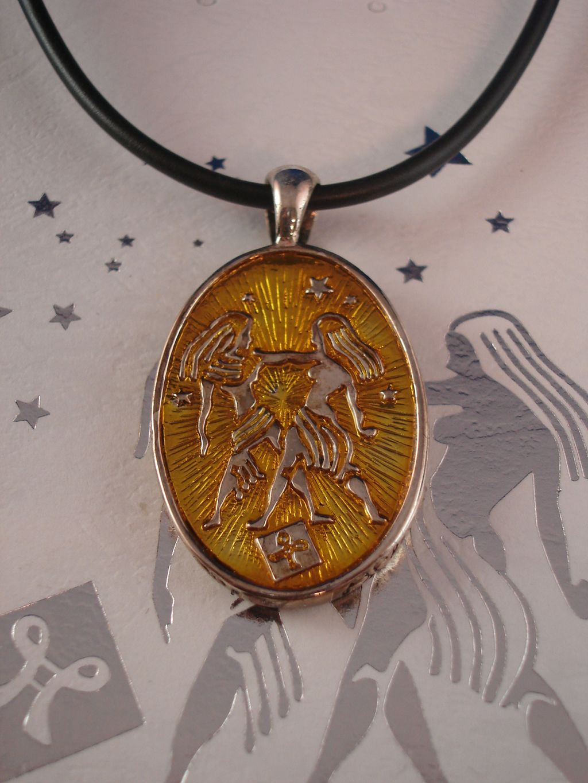Gemini Symbol Zodiac Sign Necklace Reversible Metal
