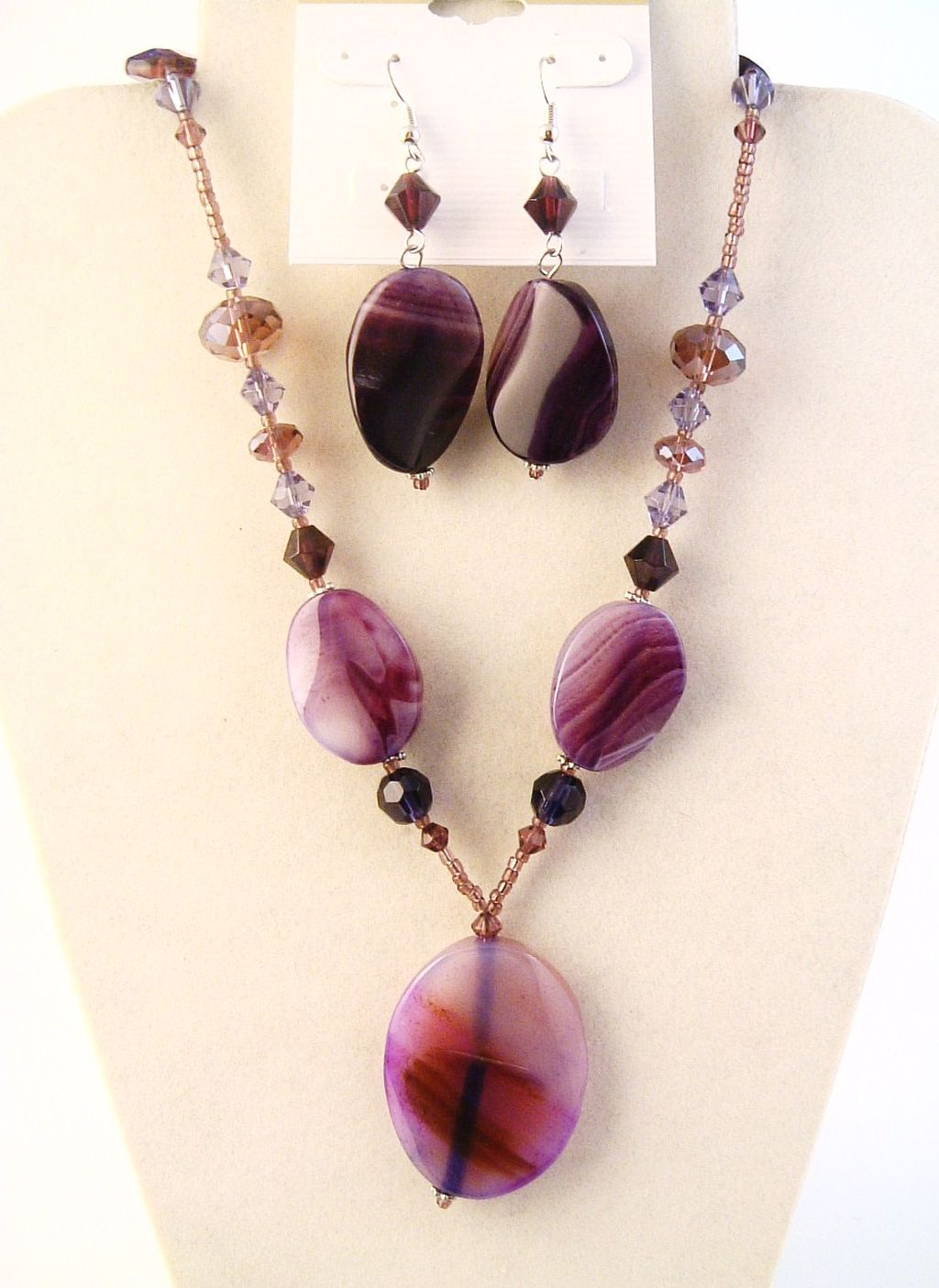 Genuine Amethyst Pendant Purple Beads Necklace Earrings Set