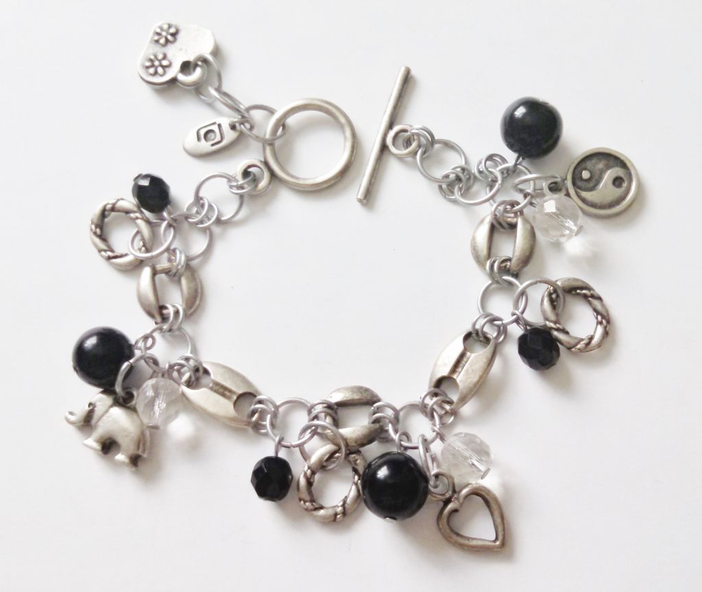 Genuine Black Onyx Elephant Yin-Yang Charm Bracelet, Happy Charms