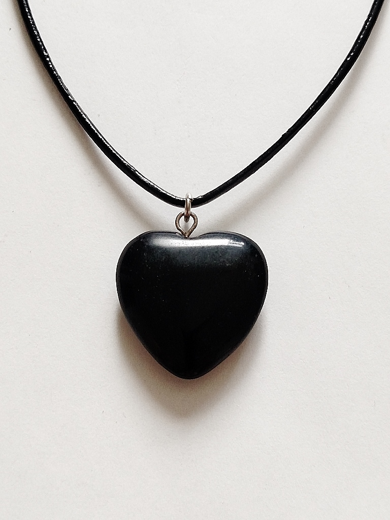 Genuine Black Onyx Heart Pendant Summer Beach Necklace