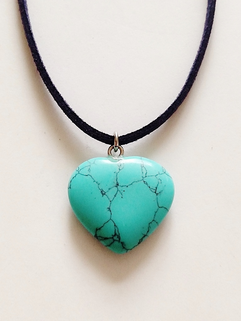 Genuine Green Turquoise Heart Pendant Summer Beach Necklace