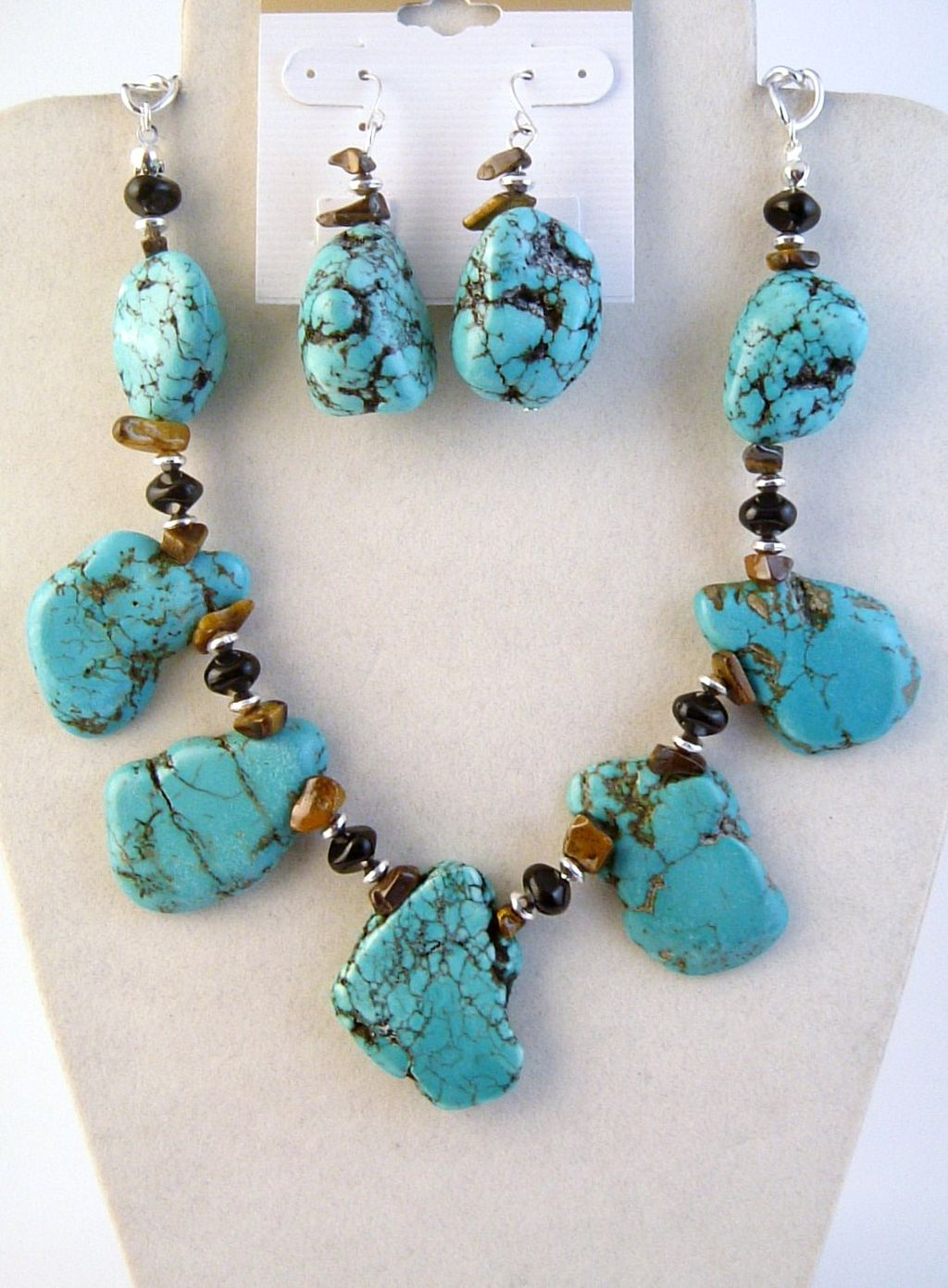 Genuine Large Turquoise Tiger Eye Onyx Stones Necklace Earrings Jewelry Set