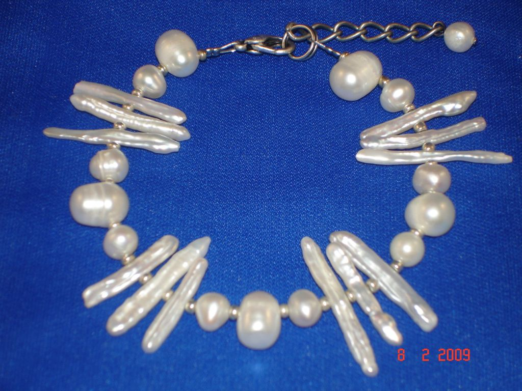 Genuine Mother-of-Pearl Contemporary Bracelet, White Color, European Fashion Jewelry