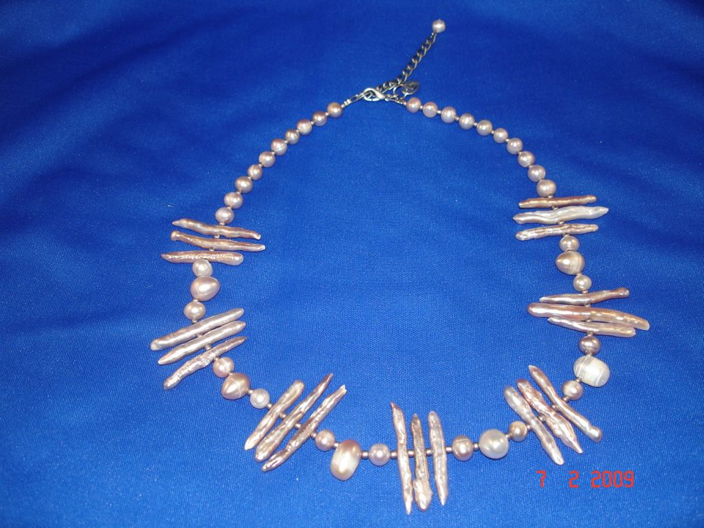 Genuine Mother-of-Pearl Necklace, Smoked Color, European Fashion Jewelry