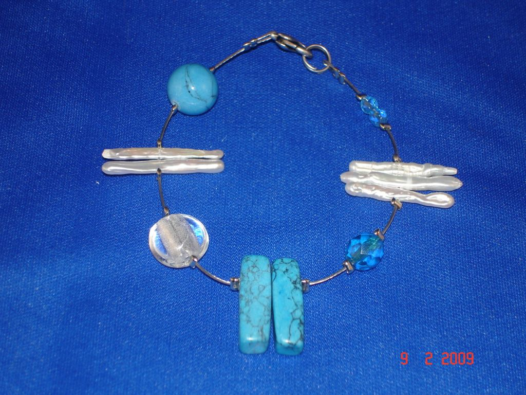 Genuine Mother-of-Pearl & Stones Contemporary Bracelet, Blue Color