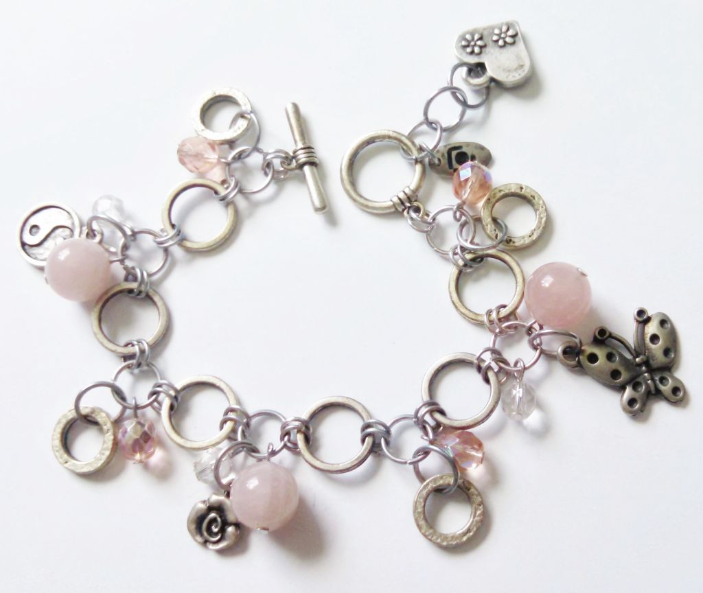 Genuine Pink Quartz Butterfly Yin-Yang Charm Bracelet, Happy Charms