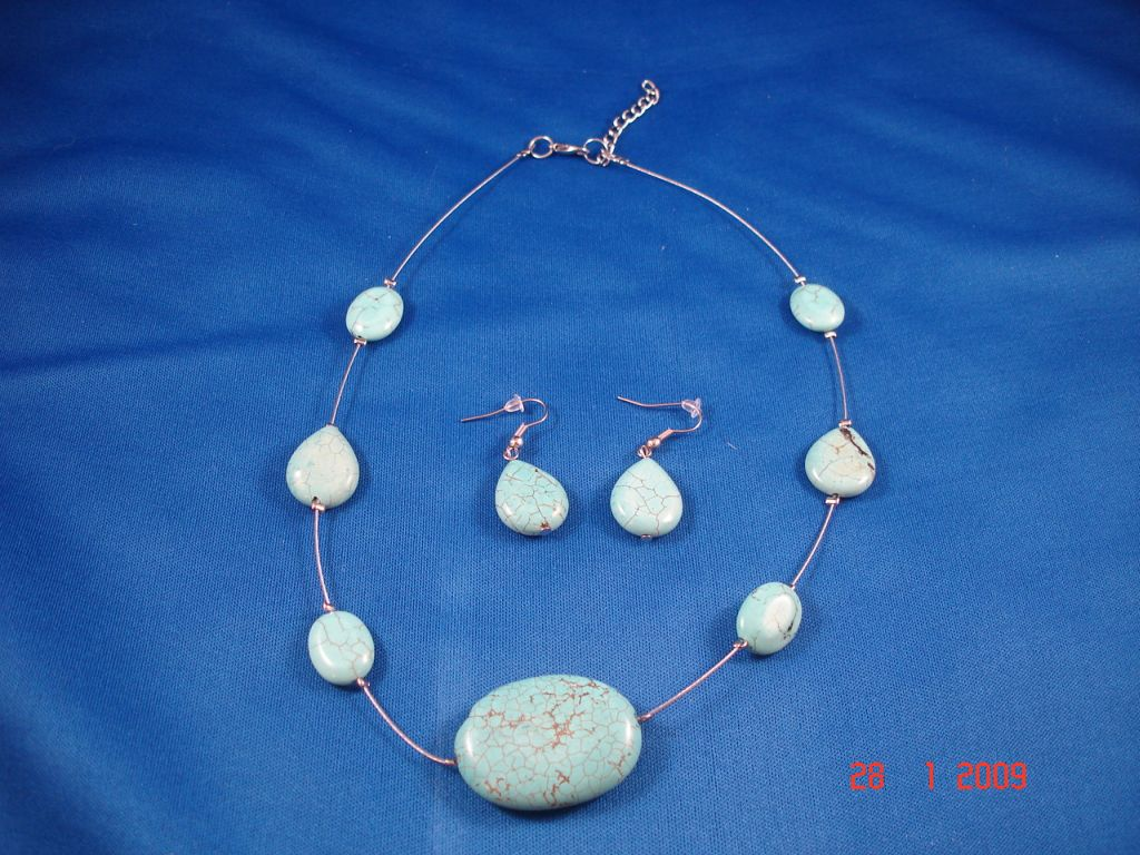 Genuine Turquoise Beads Set of  Necklace & Drop Earrings, Fashion European Eewelry