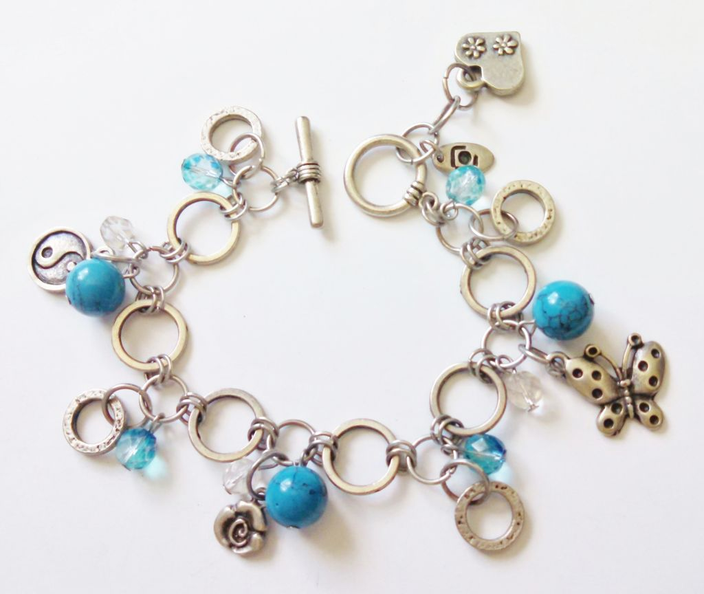 Genuine Turquoise Butterfly Yin-Yang Charm Bracelet, Happy Charms