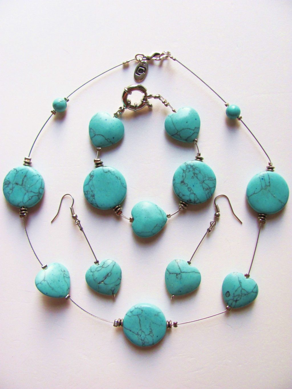 Genuine Turquoise Large Heart Beads Necklace Bracelet Earrings Set