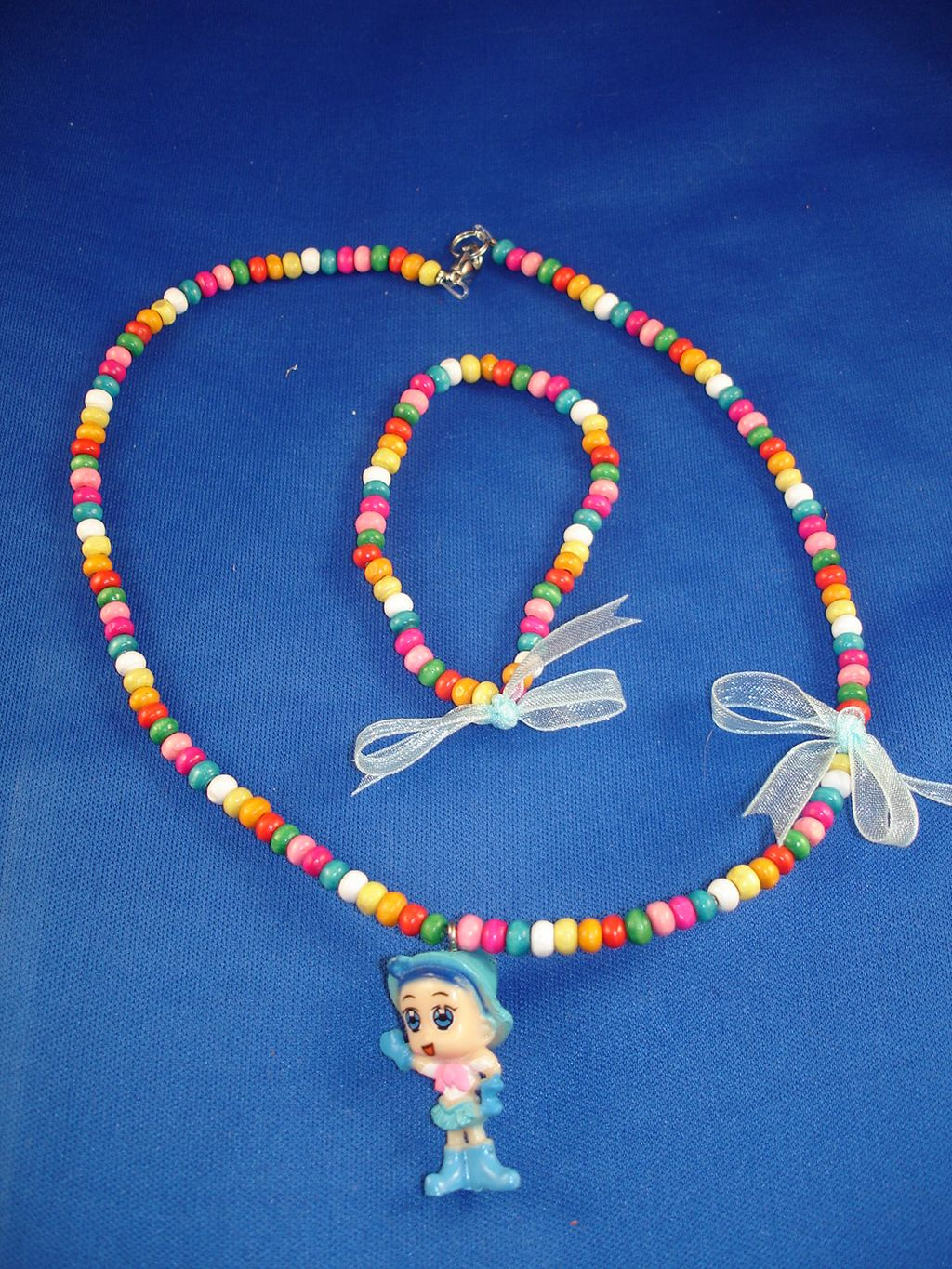 Girls Set of Necklace & Bracelet, Blue Baby Girl, Non-Allergic Jewelry