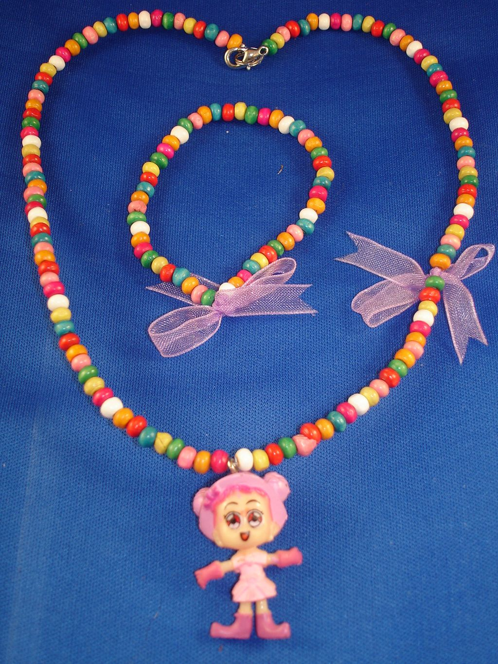 Girls Set of Necklace & Bracelet, Pink Baby Girl, Non-Allergic Jewelry