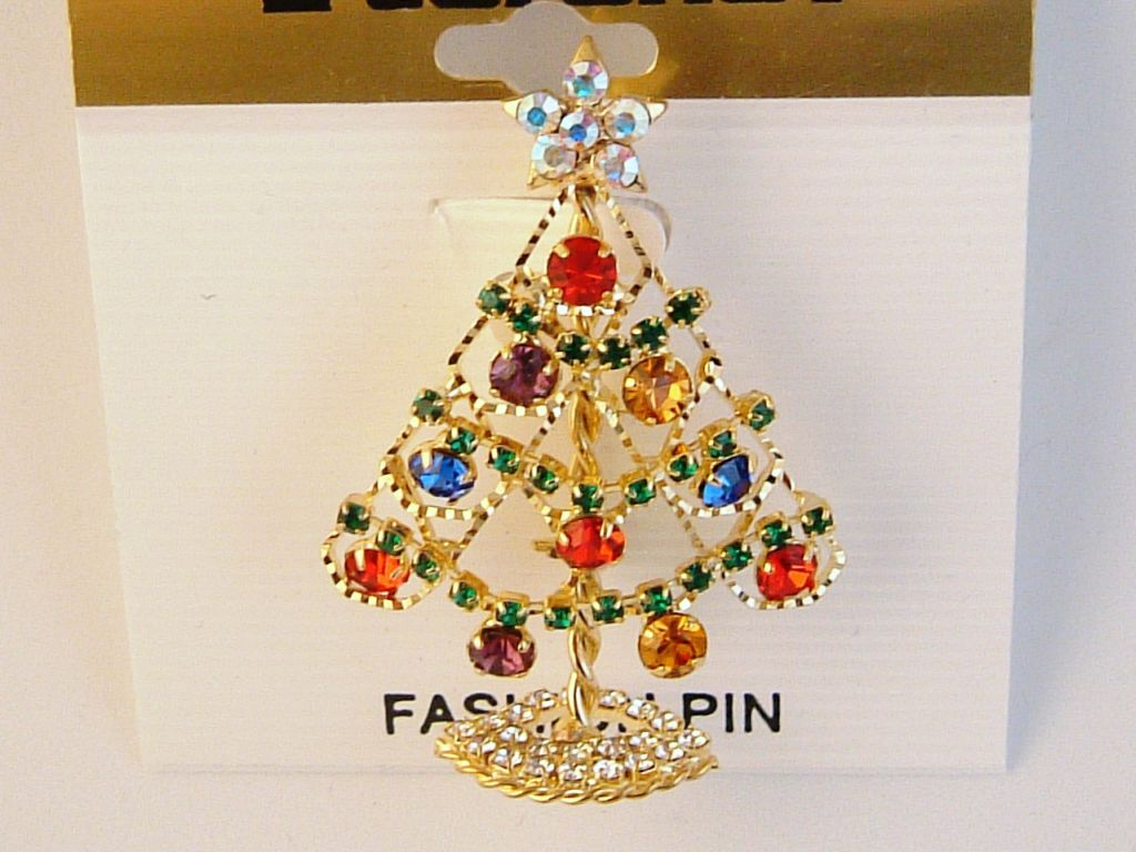 Gold Christmas Tree Brooch Pin & Star, Red Green Blue Purple Topaz Austrian Crystals