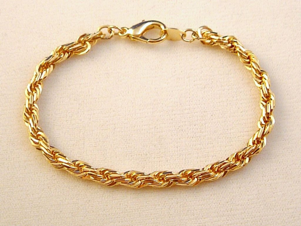 Gold Finish Twisted Rope Chain Bracelet Anti Allergic Jewelry