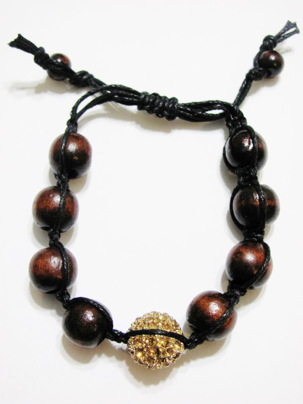 Gold Topaz Ball & Wooden Beads Shamballa Bracelet